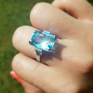 💍NEW HUGE AQUAMARINE DIAMOND 925 SILVER RING💍